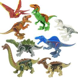 Crianças brinquedos de construção de plástico on-line-Dinossauro Brinquedo Conjunto de Blocos de Construção de Plástico Crianças Dinossauro Miniatura Figuras de Ação Modelo de Dinossauro Brinquedos Novidade Crianças Bloco Presente MMA1125