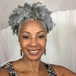 Cabello humano natural piezas afro online-Clip de pieza de cabello de cola de caballo de tejido de cabello gris en envoltura virgen humana afro rizado alrededor de cordón gris cola de caballo mujeres postizos 10-22 pulgadas