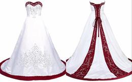 Klassische Weiß Rot Brautkleider Schatz A line Korsett Satin Stickerei Perlen Pailletten Günstige Hochzeit Brautkleider Vestidos De Novia von Fabrikanten