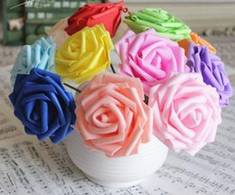 2019 flores artificiais de aparência real Artificial pe rose flower head real procurando flores falsas nupcial do casamento do bebê buquês de chuveiro diy partido home decor fornecimento 6 cm desconto flores artificiais de aparência real