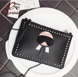 New Cartoon Design personalisierte Mode Lafayette Nieten Umschlag Tasche Clutch Geldbörse Handtaschen Casual Umhängetasche schwarz silber von Fabrikanten