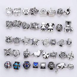 material para hacer pulseras al por mayor. Rebajas Vintage Silver Metal Beads fit Charms Fashion DIY hecho a mano europea Beads Jewelry Making 40 unidades / lote