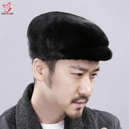 chapéus reais da pele dos homens Desconto Hot Sale 2018 REAL DA PELE Hat Mens Boinas Casual Quente Proteção de orelha Fur Inverno Cotton Cap Harppihop chapéus