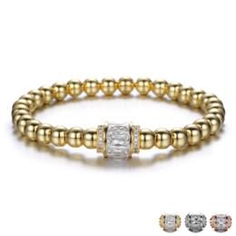 Micro perles de 6 mm en Ligne-6mm DIY Cuivre Micro Pavé Zircon Perle Bracelet pour Hommes Femmes Amitié Bracelet Charme Bijoux Cadeau
