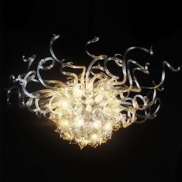 Lumières artistiques de la salle à manger en verre en Ligne-Artistique Moderne LED Lustres Transparent Pendant Light Designer en Verre Warm White Art Décoratif Suspendu Salle À Manger Lustre Lumière