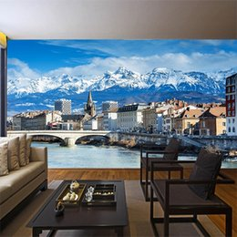 city bedroom wallpaper Coupons - Snow mountain scenery city photo wallpaper modern sofa background wall 3d wallpaper mural living room bedroom Aisle study wall cover