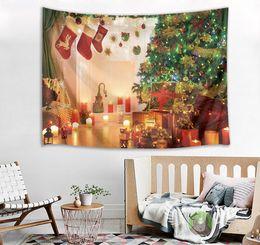 Luci dell'albero di natale della candela online-Xmas Tree Lights Stocking Candles Tapestry Wall Hanging per soggiorno camera da letto