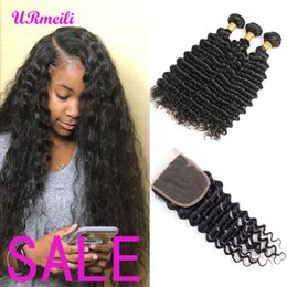 brazilian wet wavy hair Promo Codes - URmeili deep wave bundles with closure 10A Grade brazilian deep wave curly virgin human hair human hair wet wavy bundles with closure
