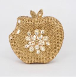 diamante de manzana Rebajas Dgrain Mujeres de Lujo Bolsos de Noche de Cristal Diseñador de Apple Embragues Rhinestones de la boda de Cristal Embragues de Noche Bolso Cadenas de Diamantes Monederos