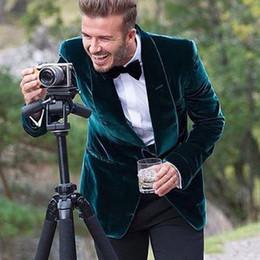 smoking vert décontracté Promotion Style décontracté Vert Velours Hommes Costumes 2019 Un Bouton Blazer Staylish Deux Pièces Groom Wear Smokings De Mariage Manteau Sur Mesure (Veste + Pantalon)