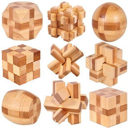 Canada 9pcs / lot 3D jouets en bois de bambou respectueux de l'environnement IQ brain teaser rosse adultes puzzle enfants éducatifs déverrouillage jeux Kong Ming Suo Offre