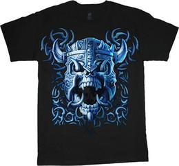 Diseño gráfico color online-Viking Skull Design Decal Cool T-shirt Hombres camiseta gráfica Hombres Mujeres Unisex moda camiseta Envío Gratis