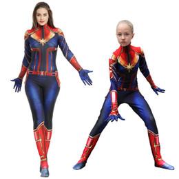 trajes de super-heróis de mulheres adultas Desconto Adulto Criança Capitão Marvel Traje Mulheres Superhero 3D Impressão Onesies Crianças Carol Danvers Bodysuit Carnaval Trajes para As Crianças