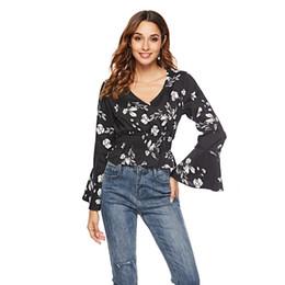 Canada Femmes Casual Floral Blouses Printemps Eté V-cou En Mousseline De Soie Elegante Plage Tops Ruffles Designer Shirts cheap elegant summer shirts Offre