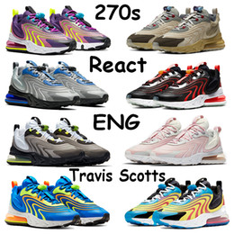 2021 photon laser Travis Scotts Hommes Chaussures de course 270S React Eng Aliens Photon Laser Dust Crimson orange Aubergine Noir Hyper Bleu Melon d'eau Chaussures de sport