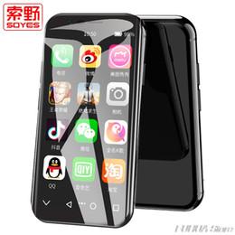 jogador mp3 livre Desconto Super mini smartphone Android telefone inteligente 2 GB + 16 GB GPS SOYES originais XS Quad Core 5.0 M Dual SIM móvel telefone celular caso presente grátis