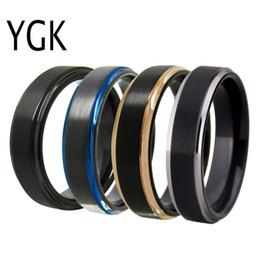 Ygk Schmuck 6mm Matte Center / schwarz / blau / rose / silber Schritt Neue Wolfram Ring Wolfram Ehering Für Männer Frauen Bräutigam Ring J190620 von Fabrikanten