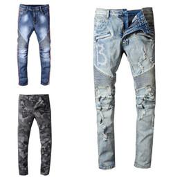 Taille 29 jeans hommes en Ligne-Pantalon de luxe Designer Jeans en détresse déchiré Biker Jean Hommes Femmes Slim Fit Moto Biker Denim Jeans Hip Hop Hommes Jeans Taille 29-42
