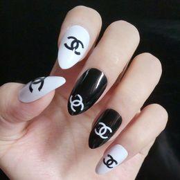 Diseño De Moda Nail Fake Brillante Negro Blanco Falso Nails Tips Diy Nail Art Manicure Producto Full Wrap Tips Z035