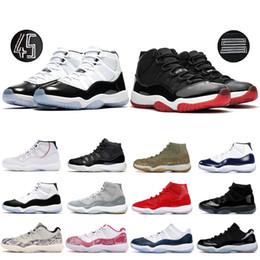 Zapatillas de baloncesto espaciales online-2019 Bred High Hombres Concord 45 nike air jordan retro 11 Zapatillas de baloncesto Hombres Mujeres 11s Platinum Tint Win Like 82 Zapatillas de diseñador Zapatillas de deporte