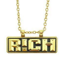 2019 hombres de oro colgantes de china China tiene una promoción de segunda temporada de hip-hop RICH Gold Tag Necklace Nueva joyería de los hombres de Rap de China hombres de oro colgantes de china baratos