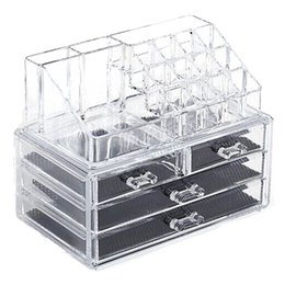 Organizzatore Scatole cassa dei monili acrilico e cosmetici bagagli Cassetti display trucco con 4 cassetti all'ambiente Materiale da cosmetici naturali fornitori