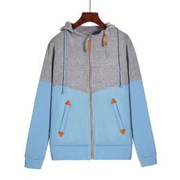 Tiendas de sudaderas online-Mujeres Otoño Sudadera con capucha de manga larga Colorblock Slim Fit Warm Zipper Sweatshirt NYZ Shop