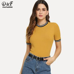 ringer tees Promo Codes - Dotfashion Ginger Rib Knit Striped Ringer Tee Women 2019 Casual Summer Short Sleeve T-Shirts Fashion Korean Style Slim Fit Top