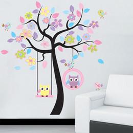 árvores de papel de parede aves crianças Desconto Da parede da árvore Pássaro da coruja DIY etiqueta Início Room Decor para Crianças Sala de estar decalques crianças do berçário do bebê Papéis de parede decorativos adesivos T191004