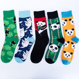 Medias de panda online-6Colors Funny Novelty Socks Mens Panda Calcetines Striped Plaid Sports Calcetines Hombre Medias de algodón peinado