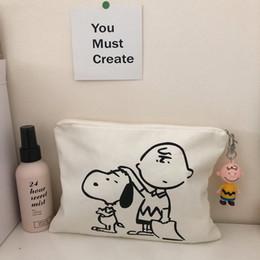 2019 sacos snoopy SIXONE Snoopy Pen Bag Saco Cosmético Dos Desenhos Animados Impresso Lona Bolsa Bonito Pig Estudante Pen Personalidade De Armazenamento desconto sacos snoopy
