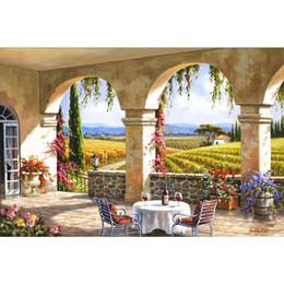 2019 case del mediterraneo dipinti ad olio Dipinti a mano splendidi dipinti ad olio Arte Gardern mediterranea Wine Country Terrace opere d'arte per la decorazione domestica case del mediterraneo dipinti ad olio economici