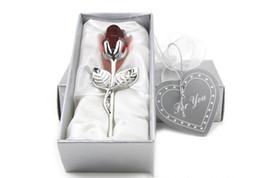 Recuerdos de cristal para la boda online-Románticos regalos de boda multicolor de cristal rosa favores con caja colorida favorece la fiesta de bienvenida al bebé adornos de recuerdo para invitados envío gratis