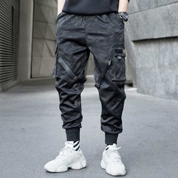 block printed Coupons - Men Ribbons Color Block Camouflage Pocket Cargo Pants 2019 Harem Joggers Harajuku Sweatpant Hip Hop Trousers