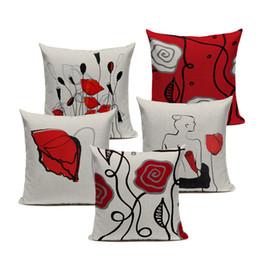cuscini divano nero rosso Sconti Personalità cuscino personalizzato creativo rosso nero fiori federa cuscino di lino divano auto sedile home decor 45 * 45 cm cuscini