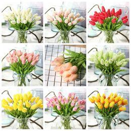 Home Decor Pu Impressionante flor do casamento Holanda Mini Tulip Flower real toque de flores artificiais para Party Room Home Hotel Evento RRA2439 de