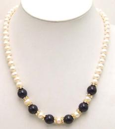 2020 perla natural negra de 12mm. Perla blanca grande 7-8mm naturales de agua dulce de 12 mm de piedra Negro pulgadas collar 17 -5360 Envío libre rebajas perla natural negra de 12mm.