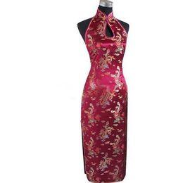 2019 vestido chinês sem costas Sexy Borgonha Backless Chinês Tradicional Vestido Longo Halter Cheongsam Qipao Novidade Gotejamento Traje S M L X X Xl Xxxl Wc025 S703 vestido chinês sem costas barato
