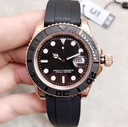beliebtesten uhren Rabatt Beliebteste Stil Runde Zifferblatt Roségold Fall Schwarz Kautschukband Automatische Herrenuhr 44 MM Männer Uhren Armbanduhren
