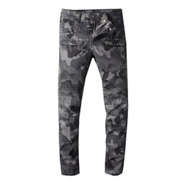 beiläufige weinleseart Rabatt Balmain Camouflage Jeans Herren Hip-Hop Biker Jeans Gestreifte Baumwolldenim Military Style Herren Jean Pants Casual Pant