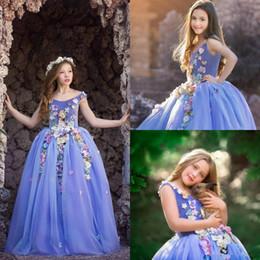 bunte blumenhochzeitskleider Rabatt Prinzessin Blumen Mädchen Kleider Bunte 3D Floral Appliques Kinder Teenager Pageant Kleider Geburtstag Party Kleid Für Hochzeit Cooktail Kleid
