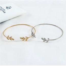 2019 Neue Blätter Eröffnung Legierung Id Armbänder für Frauen Gold Silber Farbe Armbänder Weiblichen Schmuck von Fabrikanten
