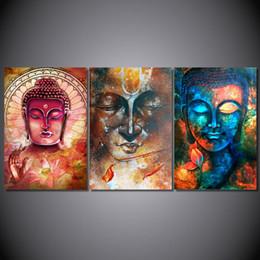 Бесплатные портретные фотографии онлайн-Hd печать 3 шт портрет Будды холст Живопись современный дом стены искусства картина для гостиной Декор Бесплатная доставка /pt0760 J190707