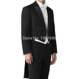Terno de cauda on-line-Tailor Made Casaco De Cauda De Casamento do homem para O Noivo Se adapte Double Breasted 3 Peça Set Calças Jaqueta Preta Colete Branco para o Baile de Finalistas Mens
