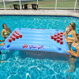 Столы для воды онлайн-Hot Selling 24 Cup Holder PVC Inflatable Beer Pong Table Pool Float Summer Water Party Fun Air Mattress Lounge Ice Bucket Cooler