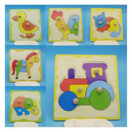 rompecabezas de animales bricolaje Rebajas 2019 New Carton Animal Puzzles de madera Juegos de juguete para niños Niños entrenan Elefante jirafa