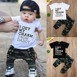 Тюльпановская майка онлайн-2019 designer sets for baby boys Toddler Kids sets Letter print Tops T-shirt+Pants Set wholesale Clothes Outfits niños ropa