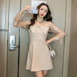 Корейское сексуальное вечернее платье онлайн-2020 Новый Хаки Черный Mesh Лоскутная Sexy Cute корейский стиль Японский платья Женщины Night Party Cliu офис платье Lady
