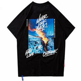 T shirt schnee online-2019 Männer Hip Hop T-shirt Brennen Schnee Berg T-Shirt Harajuku Streetwear Sommer Baumwolle Tops Tees Kurzarm T-shirts Weiß
