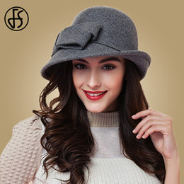 Красные войлочные шляпы онлайн-FS Elegant Bowknot Ladies Wool Felt Bowler Black Red Fedora Hats For Women Wide Brim Vintage Floppy Winter Cloche Hats